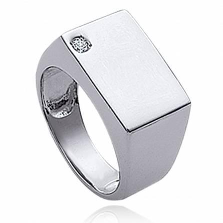 图章戒指 男士 银 Adam 矩形
