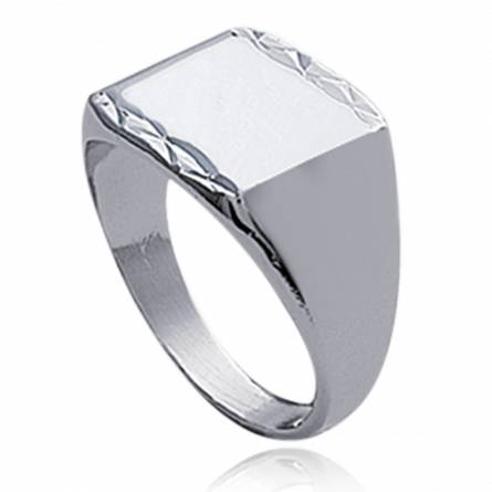 图章戒指 男士 银  lévitation 1 方形