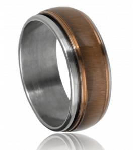 抗应激戒指 男士 不锈钢 Durango 棕色