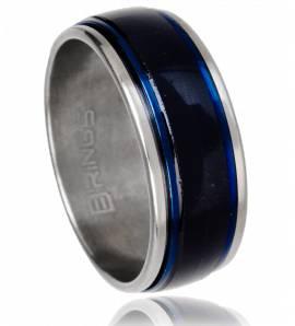 抗应激戒指 男士 不锈钢 Royale 蓝色