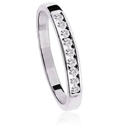 Alliance Or Blanc Et Diamants Anubis