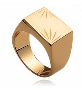 Anel com brasão masculino banhado a ouro Sagesse quadrado