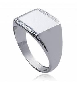 Anel com brasão masculino prata  lévitation 1 quadrado