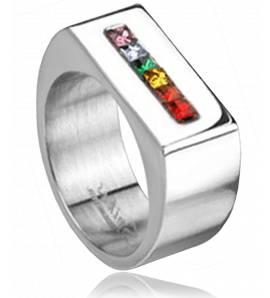 Anelli con sigillo  acciaio Rainbow