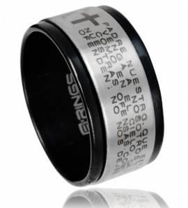 Anello-anti-stress uomo acciaio Enigma nero