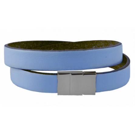 Armband frauen leder Double blau