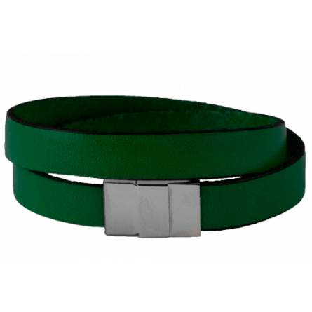 Armband frauen leder Double grün