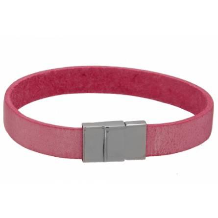 Armband frauen leder Plat rosa