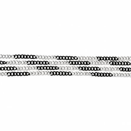 Armband frauen rhodinierter stahl CoteàCote  schwarz