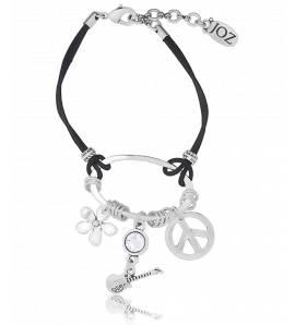 Armband frauen silberner stahl Peace friedenszeichen schwarz