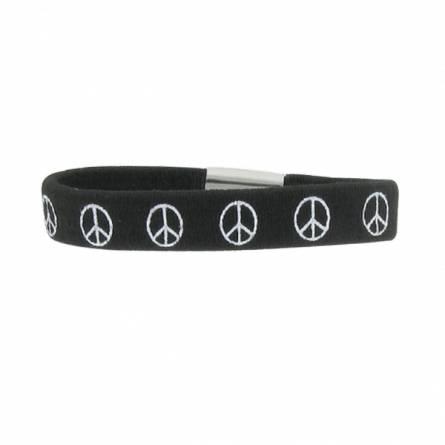 Armband kind gummi Peace friedenszeichen schwarz