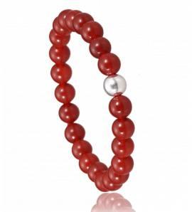 Armbanden heren elastiek Jaspe rood