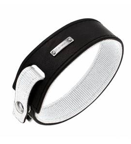 Armbanden heren leer Color Code White zwart