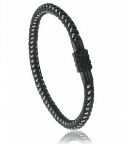 Armbanden heren roestvrijstaal Twisted Steel zwart