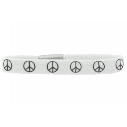 Armbanden kind elastiek Peace vrede wit
