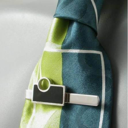 Art Déco Silver Resin Tie Clip