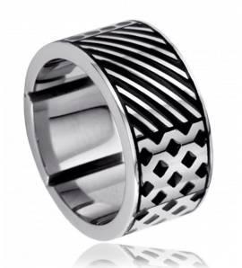 Bague acier Duts and stripes