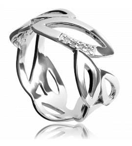 Bague argent feuillage diamant Hot Diamonds