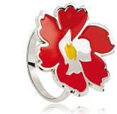 Bague argent Kenzo fleur rouge Ildden