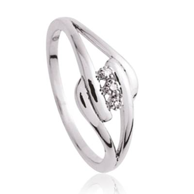 Bague Argent Rhodie diamant Océanos