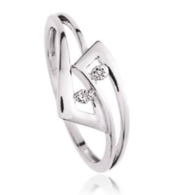 Bague Argent Rhodie diamant Semara
