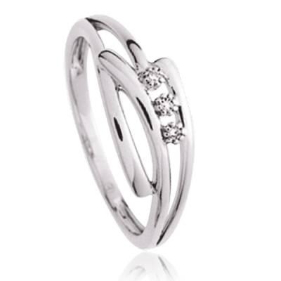 Bague Argent Rhodie diamants Freyja