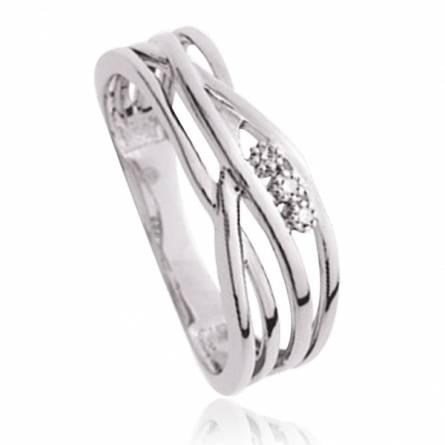 Bague Argent Rhodie diamants Shiva