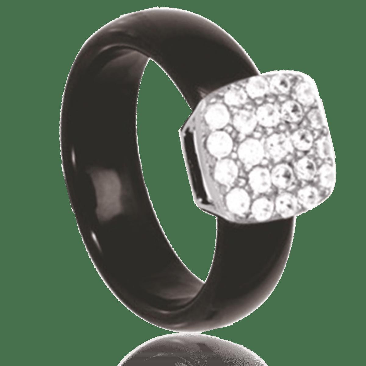 bague argent ceramique noir