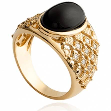 Bague femme perle-imitation Zohé noir