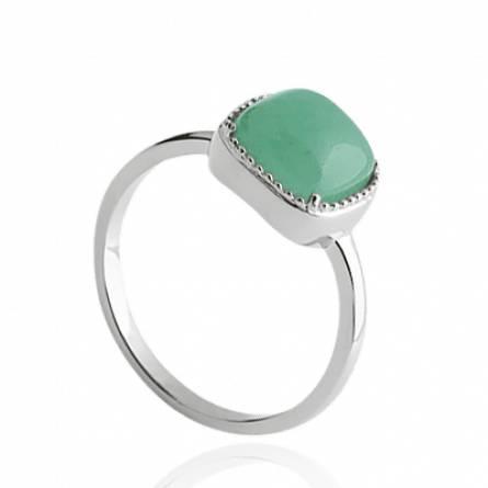 Bague femme pierre Comfort carrée vert