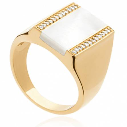 Bague femme pierre Salenia rectangle blanc