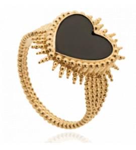Bague femme pierre Urendran coeur noir