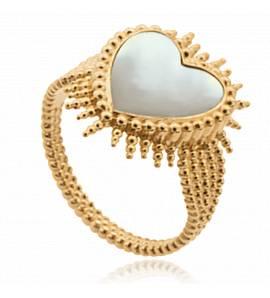 Bague femme plaqué or Alfrenise coeur blanc
