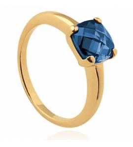 Bague femme plaqué or Ayana carrée bleu