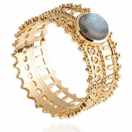 Bague femme plaqué or Aztek bleu