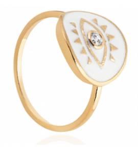 Bague femme plaqué or Bajiane ronde blanc