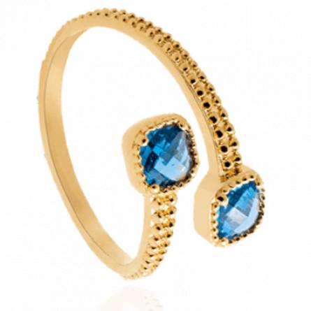 Bague femme plaqué or Chelna bleu
