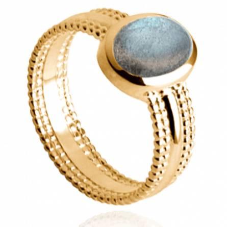 Bague femme plaqué or Dali ovale bleu