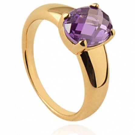 Bague femme plaqué or Deniasa ovale violet