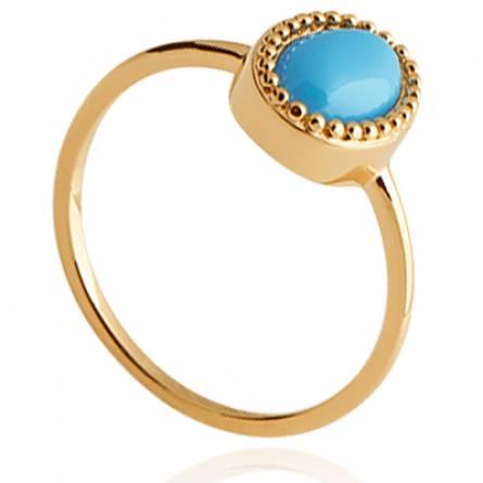 Bague femme plaqué or Denys ovale turquoise