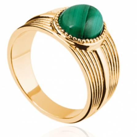 Bague femme plaqué or Elisna vert