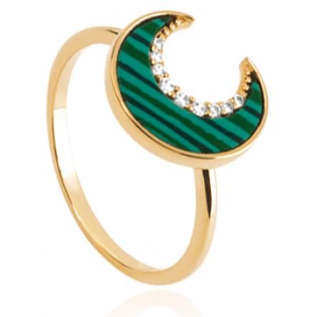 Bague femme plaqué or Elvira demi lune vert
