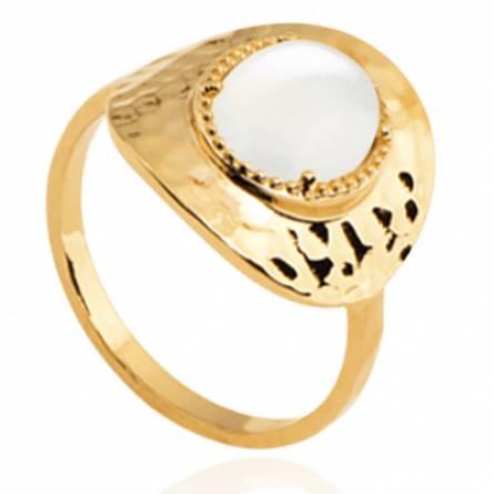 Bague femme plaqué or Gabrielle ronde blanc