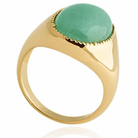 Bague femme plaqué or Maïtika ronde vert