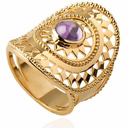 Bague femme plaqué or Minga violet