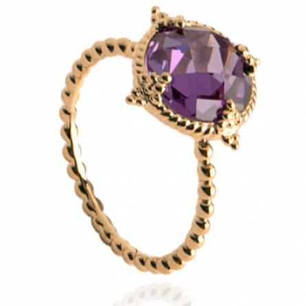 Bague femme plaqué or Nesaea ronde violet