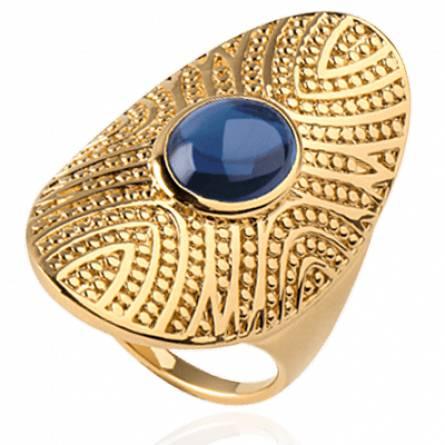 Bague femme plaqué or Pylia bleu
