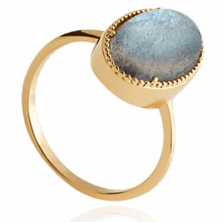 Bague femme plaqué or Sensa ovale bleu