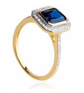 Bague femme plaqué or Tagera carrée bleu