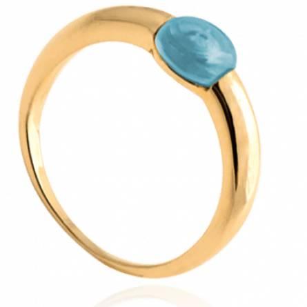 Bague femme plaqué or Temani bleu